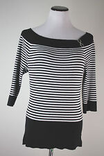 White House Black Market XL Fitted Stretch Striped Silver Hook Boat Neck Top