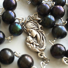 *AAA8-9mm Black Tahitian Real Pearl BEADS ROSARY CROSS crucifix Necklace & box