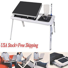 Foldable Laptop Table Tray Desk Tablet Desk &Cooling Fan Stand Bed Sofa Couch