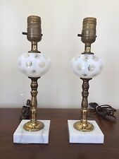 Pair of 1940's FENTON White Opalescent Coin Dot Boudoir Lamps with Marble Base