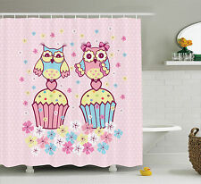 Two Owl Couples on Cupcakes Springtime Happiness Romantic Art Shower Curtain