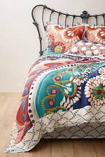 Anthropologie  Embroidered Wildfield Quilt Reversible Queen Bedding Duvet Cover