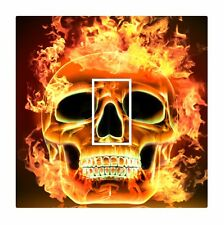 Novelty Flaming Gothic Skull on Fire Light Switch Vinyl Sticker Cover Skin Decal