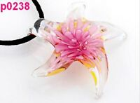 Starfish Flower Heart Clear Murano Lampwork Glass Pendant Necklace p0238