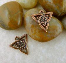 4 TierraCast antique copper Celtic Trinity Knot charm, pendant