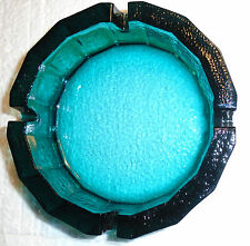 VINTAGE ASHTRAY AQUA BLUE GREEN THICK FEDERAL GLASS 6""