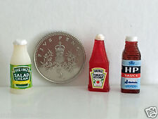 DOLLS HOUSE MINIATURE SAUCE BOTTLES Ketchup HP Salad Cream Handmade 1:12th scale