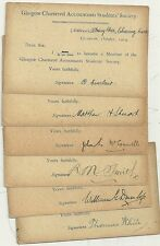 1913/14 6 x GLASGOW CHARTERED ACCOUNTANTS STUDENTS SOCIETY APPLICATION P/Cs USED