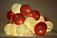 GUIRLANDE LUMINEUSE LED 20 BOULES rouge blanc  20 COTTON BALLS LED STRING LIGHT