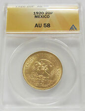 Rare 1920 Mexico Gold 20 Pesos Certified AU58 *Aztec Calander Beautiful Coin