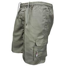 Mens Summer Elasticated Plain Shorts Lightweight Cotton Cargo Combat Pants 28-44