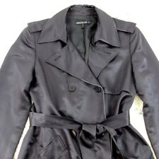 Lafayette 148 new York Black 100% silk lined Classic Trench Coat  size 8