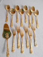 Vtg Lot of 16 flatware utensils NIVELLA ROSTIREI GOLD tone ROSE ptrn sugar pie