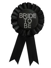 BRIDE TO BE Hen Night Party Rosette Badge BLACK with SILVER diamantes