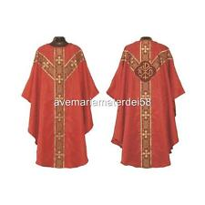 Red Gothic Chi Rho Chasuble Set Lined+Stole, Maniple, Chalice Veil, Burse