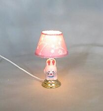 Dollhouse Miniature Pink Bunny Rabbit Nursery Table Lamp Electric 1:12 Light