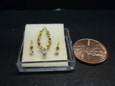 DOLLHOUSE HAND MADE NECKLACE SET/ YELLOW STONE