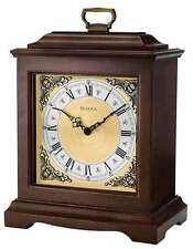 Bulova Thomaston Analog Dark Brown Hardwood Chiming Mantel Clock B1511