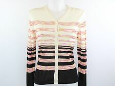 Missoni Ivory Pink and Back Striped Sweater Cardigan Size 44/10