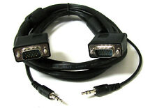 6 FT HD15 Male to Male VGA w/ 3.5mm Audio Stereo TV Monitor Cable for PC Laptop