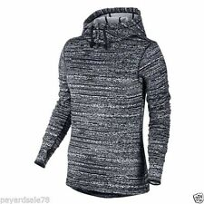 Nike Women Pro Hyperwarm Thermal Hooded Running Top - 685215-065 - Sz L - Blk/Wh