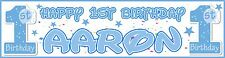 Personalised 1st birthday BOY Banners ** BUY ONE GET ONE FREE ** #0