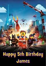 LEGO MOVIE b PERSONALISED A5 BIRTHDAY CARD with COLOURING PICTURE