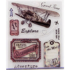 Retro Aircraft Transparent Clear Rubber Stamp Cling DIY Scrapbooking Seal
