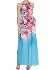 Bnwt��Coast��Size 12 Multi Cherry Blossom Floral Print Maxi Dress, Blue Pink New