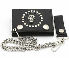 Trifold USA Made Black Leather Biker Wallet Skull & Rivets Design w/ a Chain