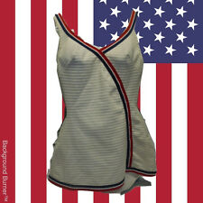 Vintage One Piece Bathing Suit Patriotic Olympic Colors Red White Blue Retro