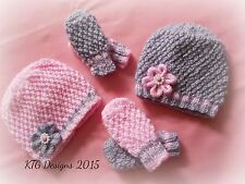 Knitting pattern not actual items to knit baby girls hat and mitts set dk grace