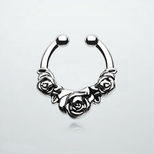 Imitation Nose Ring Rose Flower Clip On Septum Piercing Fake Nose Hoop GoGo-UK