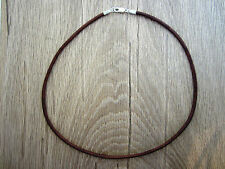 """3mm Mens Leather Cord Necklace - Sterling Silver Clasp/Catch - 20"""" inch - Brown"""