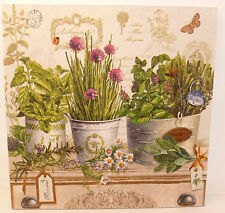 French Country Botanical Herb Pots Shabby Vintage Chic Kitchen Picture Plaque