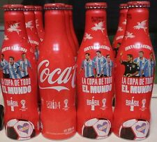 SET OF 4 COCA COLA ALUMINUM FULL BOTTLES FIFA WORLD CUP BRAZIL 2014  ARGENTINA