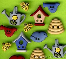 THE BIRDS & THE BEES Bird House Beehive Nature Garden Dress It Up Craft Buttons