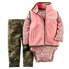 NEW NWT Girls Carter's Newborn 3 6 9 12 18 or 24 Months Camouflage Vest Set