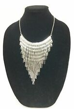 NEW CDS SILVER TONE STAINLESS STEEL FRINGE BIB WIDE NECKLACE 5314520