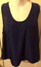 New Skater/Punk Converse Chiffon Look Blue Racer Tank Top W Black Stars Size XL