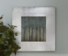 Large Square Silver Framed Modern Wall Art | Soothing Contemporary Painting
