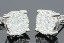 10K WHITE GOLD 2.17 CARAT MENS WOMENS 11mm 100% GENUINE DIAMONDS EARRING STUDS