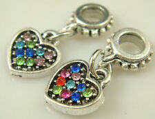 hot European Silver CZ Charm Beads Fit sterling 925 Necklace Bracelet Chain sk3