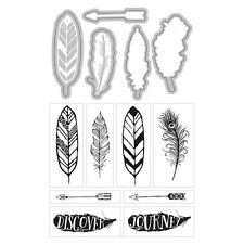 ART-C Momenta Clear Stamp & Cut Die Set  FEATHERS  13 PC