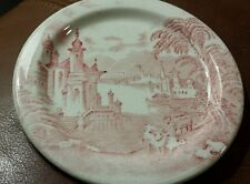 Shenango China Plate Dish Red Castle Country Scene NewCastle on England Vintage