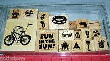 Stampin Up Fun in the Sun Stamp Set Flip Flops Sunglasses Bike Beachball Frog