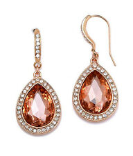 EARRINGS Teardrop Facet Glass & Crystal Copper Tone Clear Party Earrings