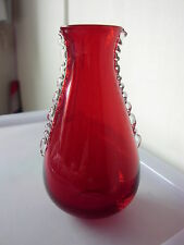 Whitefriars Ruby Red Glass Vase With Clear Glass Flanges no.9420 1950/1960's