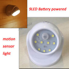 9-LED White Motion Activated Cordless Sensor Light In/Outdoor Garden Wall Patio