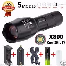 SkyWolfeye X800 Flashlight LED Zoomable Military Torch G700 with Battery Charger